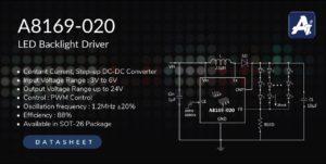 LED Backlight Driver A8169-020, STEP-UP DC/DC CONVERTER